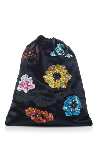 Medium attico black sofia floral pouch