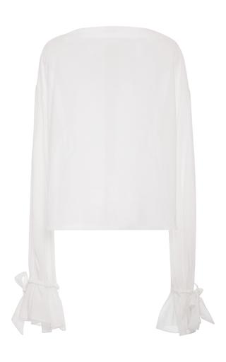 Medium hensely white white cotton tie sleeve blouse