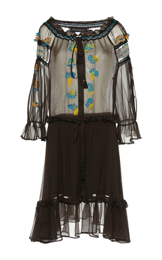 Medium rossella jardini brown embroidered off the shoulder dress