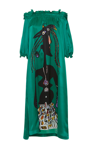 Medium rossella jardini green fausto printed oversize dress