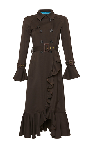 Medium rossella jardini brown ruffled trench coat