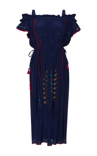 Medium rossella jardini navy off the shoulder embroidered dress