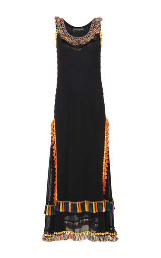 Medium rossella jardini black tassel embellished maxi dress