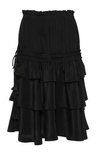 Medium rossella jardini black ruffled skirt with coulisse