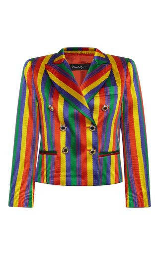 Medium rossella jardini stripe rainbow jacquard double breasted tuxedo jacket