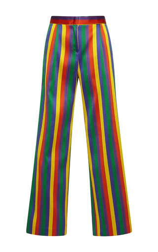 Medium rossella jardini stripe rainbow jacquard wide legged pant