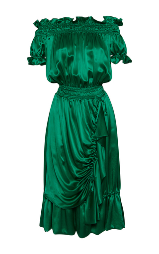 Medium rossella jardini green smocking peasant dress