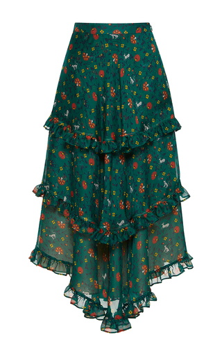 Medium rossella jardini print multilayered folk skirt
