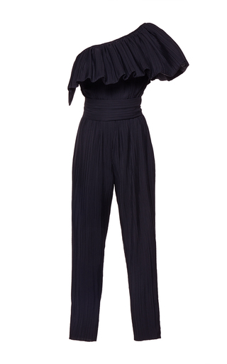 Medium wanda nylon black lya ruffled one shoulder jumpsuit