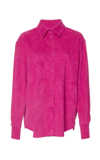 Medium wanda nylon pink barbara suede effect shirt