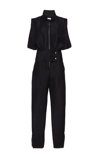 Medium wanda nylon black jeannette front zip jumpsuit