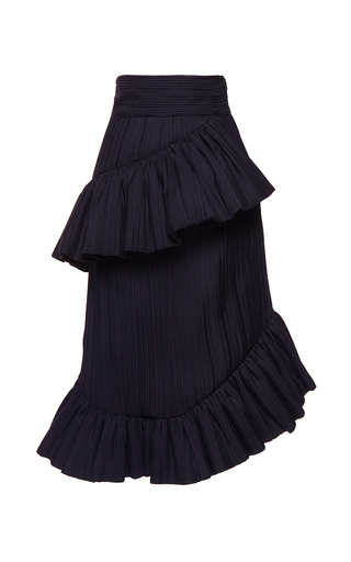 Medium wanda nylon black kendall asymmetric ruffled skirt