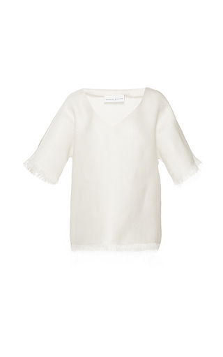 Medium wanda nylon white anna frayed deep v t shirt