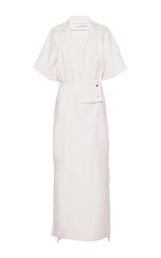 Medium wanda nylon white svetlana oversized sleeve column dress
