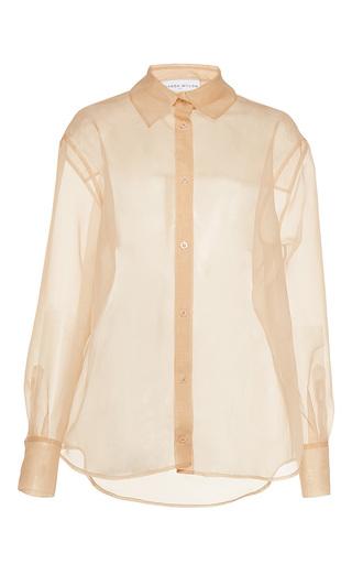 Medium wanda nylon nude bibi sheer collared shirt