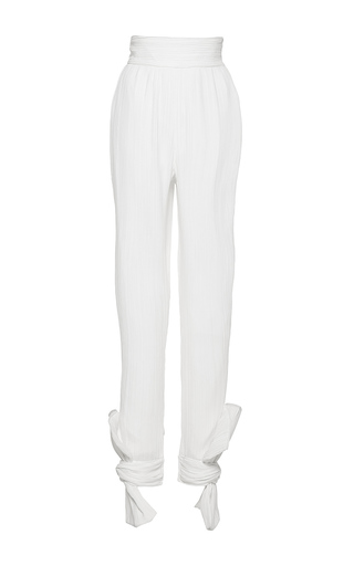 Medium wanda nylon white nelly high waist ankle tie pants