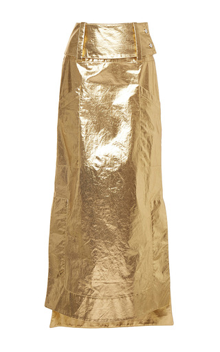 Medium wanda nylon gold kelly metallic skirt