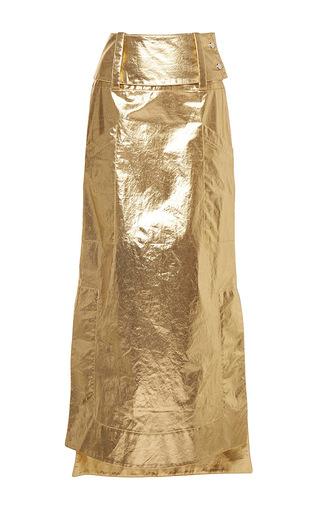 Medium wanda nylon gold kelly metallic skirt