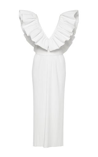 Medium wanda nylon white candy ruffled deep v midi dress