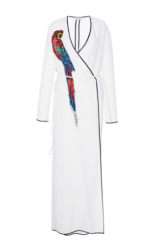 Medium attico white raquel robe dress with parrot embroidery