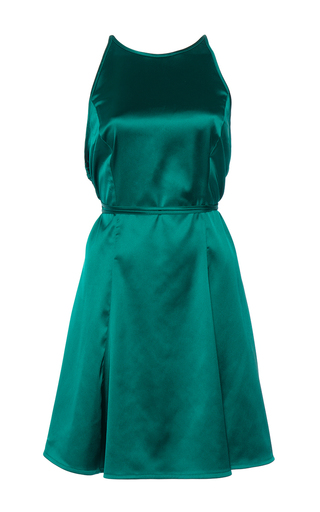 Medium attico green cecilia mini satin dress