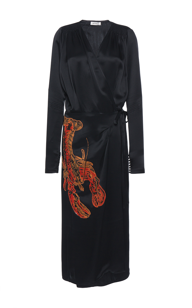 6 Stores In Stock Attico Lobster Beaded Satin Midi Wrap