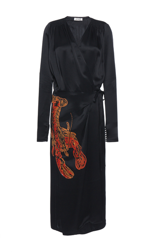 Medium attico black gabriela satin robe with lobster embroidery