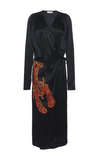 Medium attico black gabriela satin robe with lobster embroidery