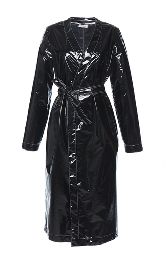Medium attico black dara trench vinyl coat