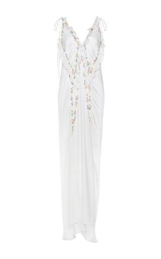 Medium attico white marisa silk sleep dress with flower embroidery