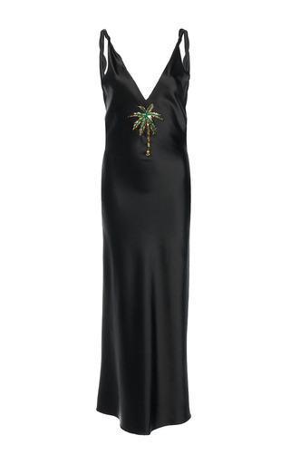 Medium attico black caroline satin stretch slip dress palm embroidery