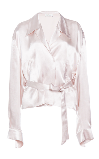 Medium attico pink andrea silk satin bomber shirt