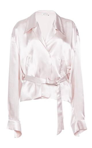 Medium attico pink andrea silk satin bomber shirt