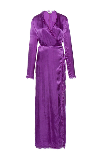 Medium attico purple raquel silk robe dress with fringe details