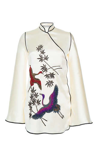 Medium attico white elena silk kimono dress with embroideries
