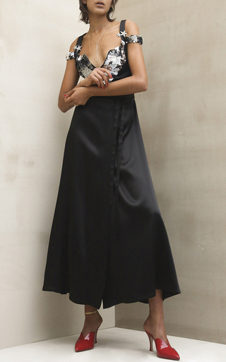 Medium attico black maria black satin dress