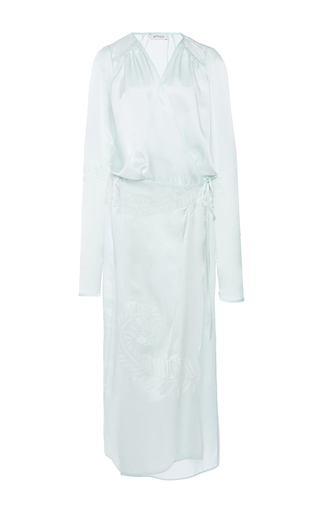 Medium attico green gabriela silk robe with patch leaf embroidery