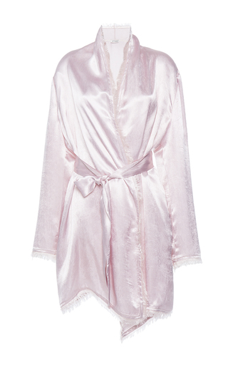 Medium attico pink fringe hem belted robe