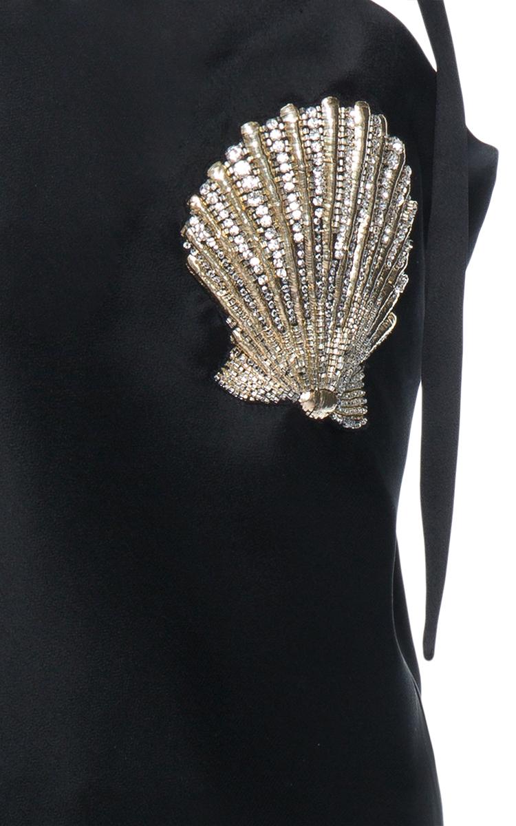 Sabrina Mini Satin Dress With Shalles Embroidery By Moda