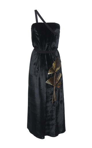 Medium attico black veronica strapless velvet dress with metal leaf application