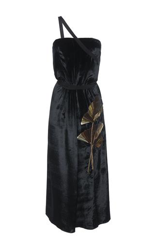 Medium attico black veronica strapless velvet dress with metal leaf application