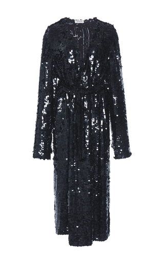 Medium attico black dara georgette robe paillettes