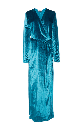 Medium attico blue raquel velvet robe dress