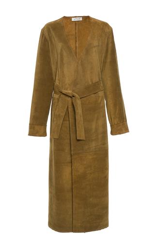 Medium attico brown dara leather trench coat