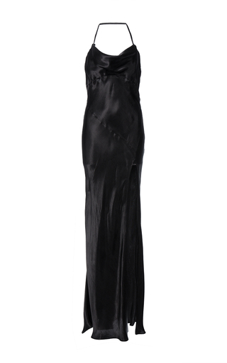 Medium attico black bias cut draped gown