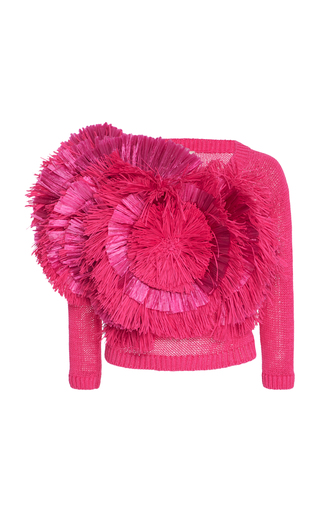 Medium delpozo fuchsia fringed cotton sweater