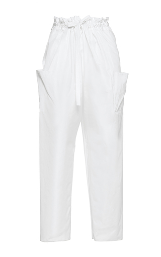Medium maison rabih kayrouz white cinch waist cropped trousers