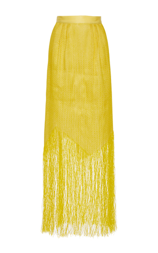 Medium maison rabih kayrouz yellow high rise fringe long skirt