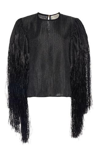Medium maison rabih kayrouz black fringe sleeve blouse
