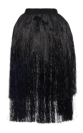 Medium maison rabih kayrouz black fringe midi skirt